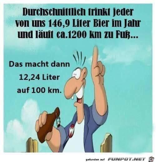 Bier auf 100 km
