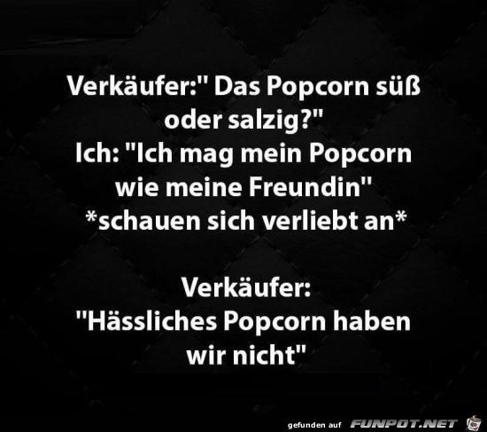 Popcorn süss oder salzig?....
