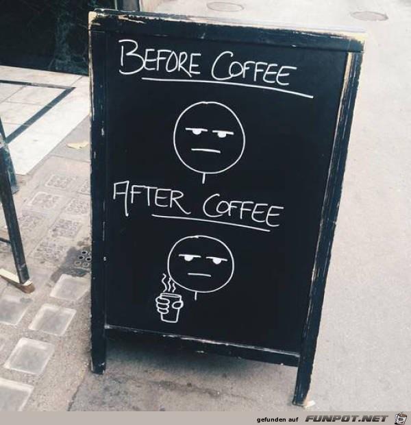 vor und nach dem Kaffee