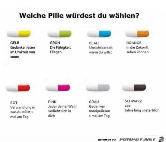 Welche Pille würdest du wählen?