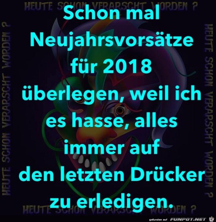 Neujahrsvorsätze für 2018 aufschreiben