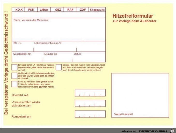 Hitzefrei-Formular