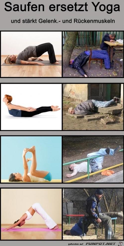 Saufen ersetzt Yoga