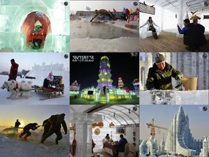 Prachtig en machtig sneeuw ijsfestival in Harbin