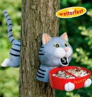 Lustige Vogelfutterstelle FLUFFY - die Katze, zur...