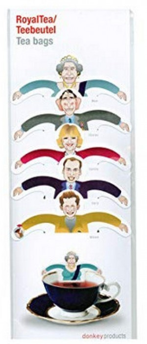 Teebeutel mit Abbildungen der englischen Königsfamilie!