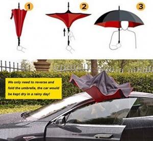 Seitenverkehrter Regenschirm!