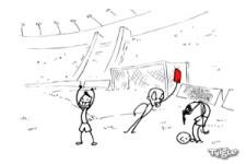 Ziemlich verrückte Fußball-Szene