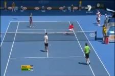 Lustiges Doppel beim Tennis