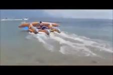 Fliegen mit dem Schlauchboot,coole Sache