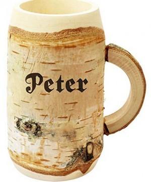 Holz-Bierkrug mit Gravur!