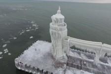 St. Joseph Michigan Lighthouse von der Drohne aus
