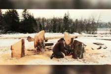 Holzschnitzen mit Kettensaege